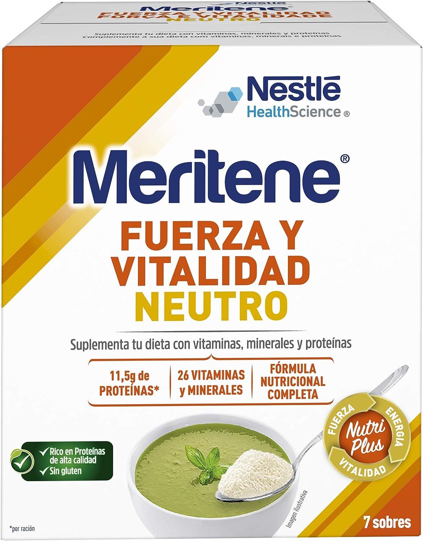 Meritene® FUERZA Y VITALIDAD - Suplementa tu nutrición y refuerza tu sistema inmune con vitaminas, minerales y proteínas - SABOR NEUTRO - Suplemento ...