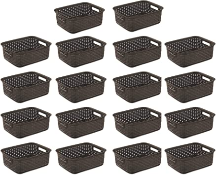 Sterilite Short Weave Wicker Pattern Storage Container Basket Gray 18 Pack