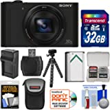 Sony Cyber-Shot DSC-WX500 Wi-Fi Digital Camera (Black) with 32GB Card + Battery + Charger + Case + Flex Tripod + Kit