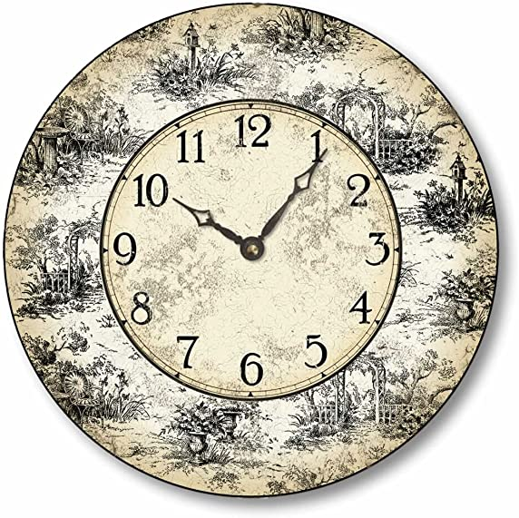 Fairy Freckles Studios Item C6021 Vintage Style 10.5 Inch French Toile Clock