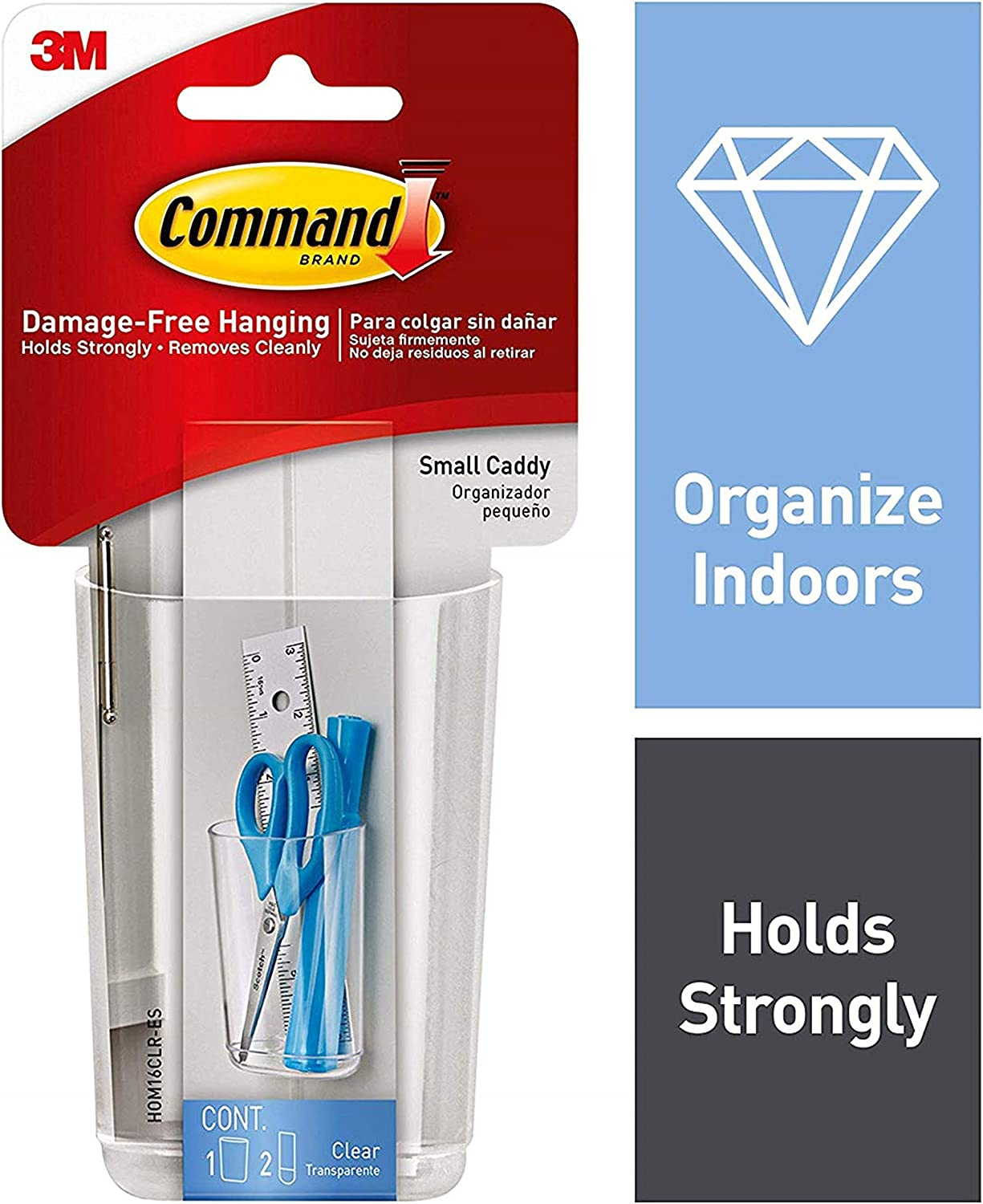 Command Caddy, Small, 1 caddy, 2 strips, Organize Damage-Free (HOM16CLR-ES)