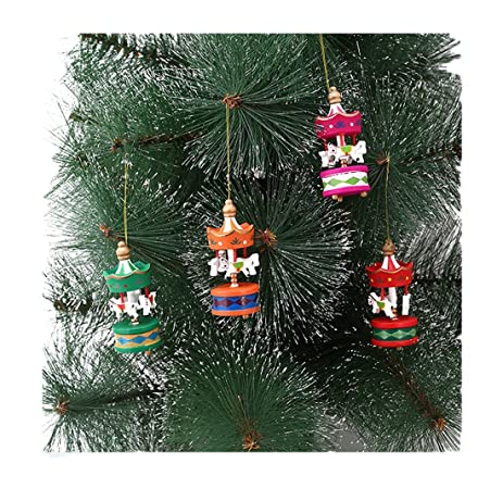 edtoy 6pcs christmas carousel horse decorations ornaments christmas tree wooden pendant decorations
