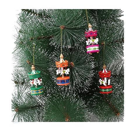 edtoy 6pcs christmas carousel horse decorations ornaments christmas tree wooden pendant decorations