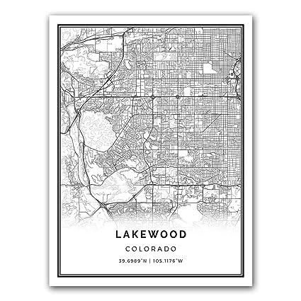 Amazon.com: Squareious Lakewood map poster print   Modern black and ...