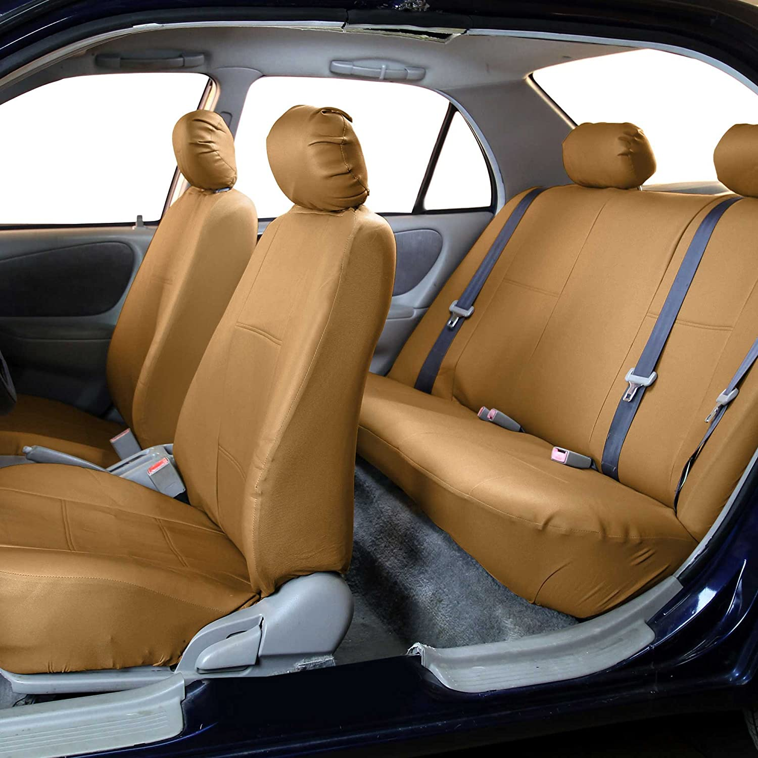 Set of 2 FH Group PU001TAN102 Tan Faux Leather Front Car Seat Cover