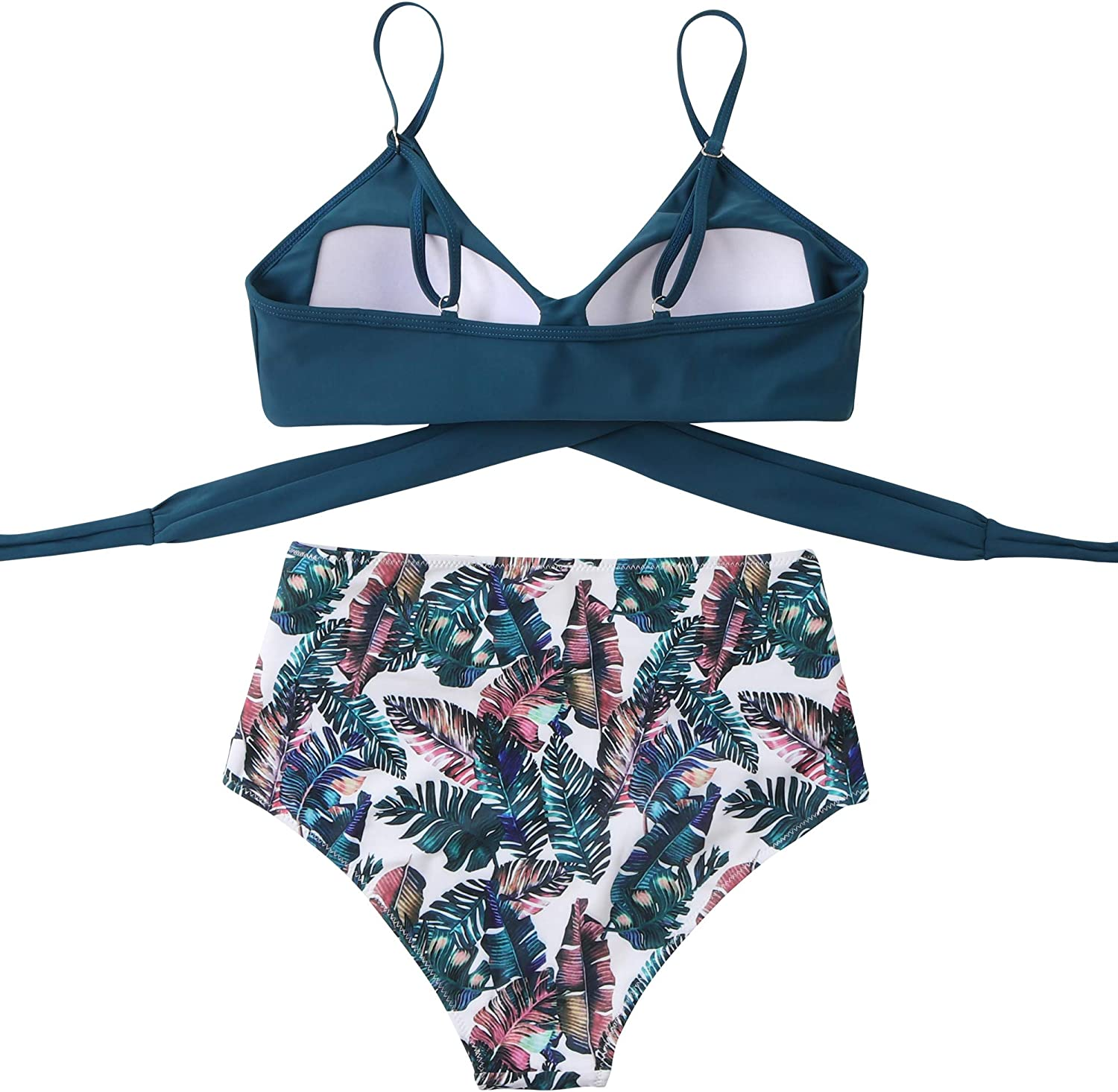 RUUHEE Women Criss Cross High Waisted String Floral Printed 2 Piece Bathing Suits