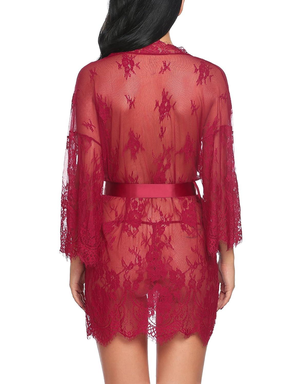 Avidlove Womens Lace Kimono Robe Babydoll Lingerie Mesh Sleepwear