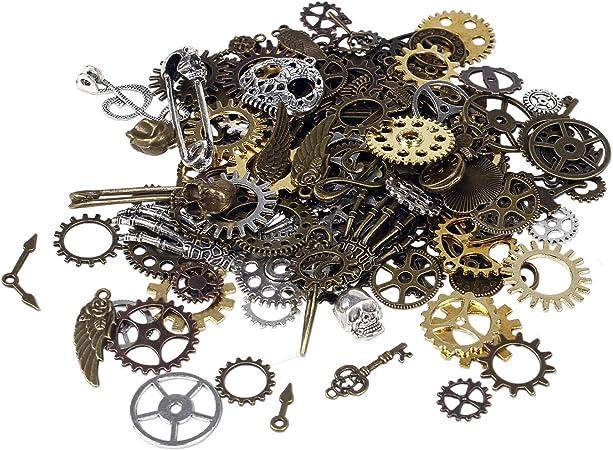 Bihrtc 100 Gram Diy Assorted Color Antique Metal Steampunk Gears Charms Pendant