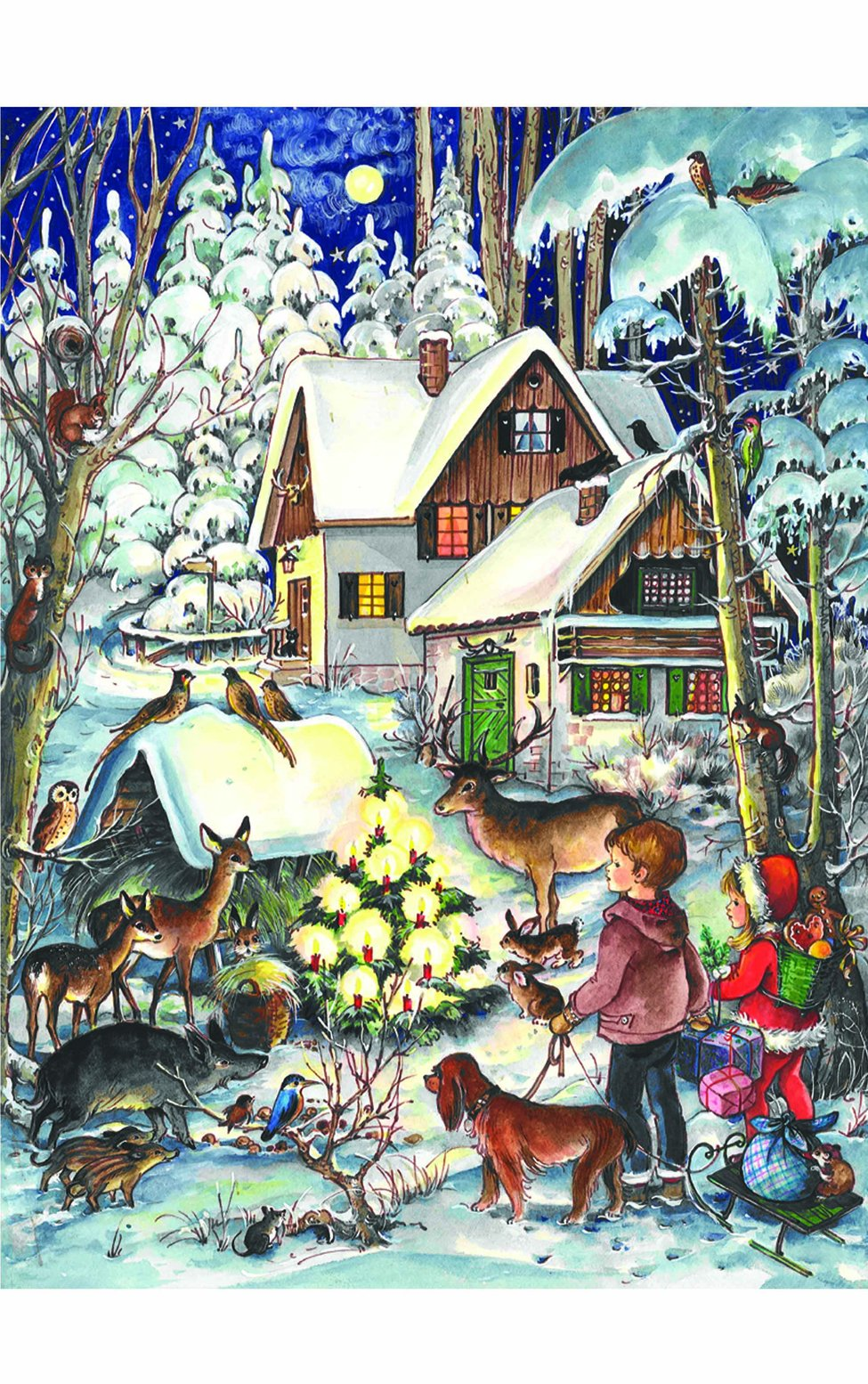Children and Friendly Woodland Creatures Around Christmas Tree Advent Calendar Approx 8.25'' x 11.75'' (805)