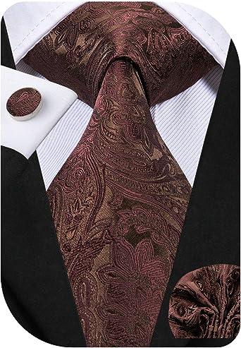Dubulle - Juego de corbata y pañuelo de bolsillo para hombre con gemelos y caja de regalo Marrón Un-3063 85: Amazon.es: Ropa y accesorios