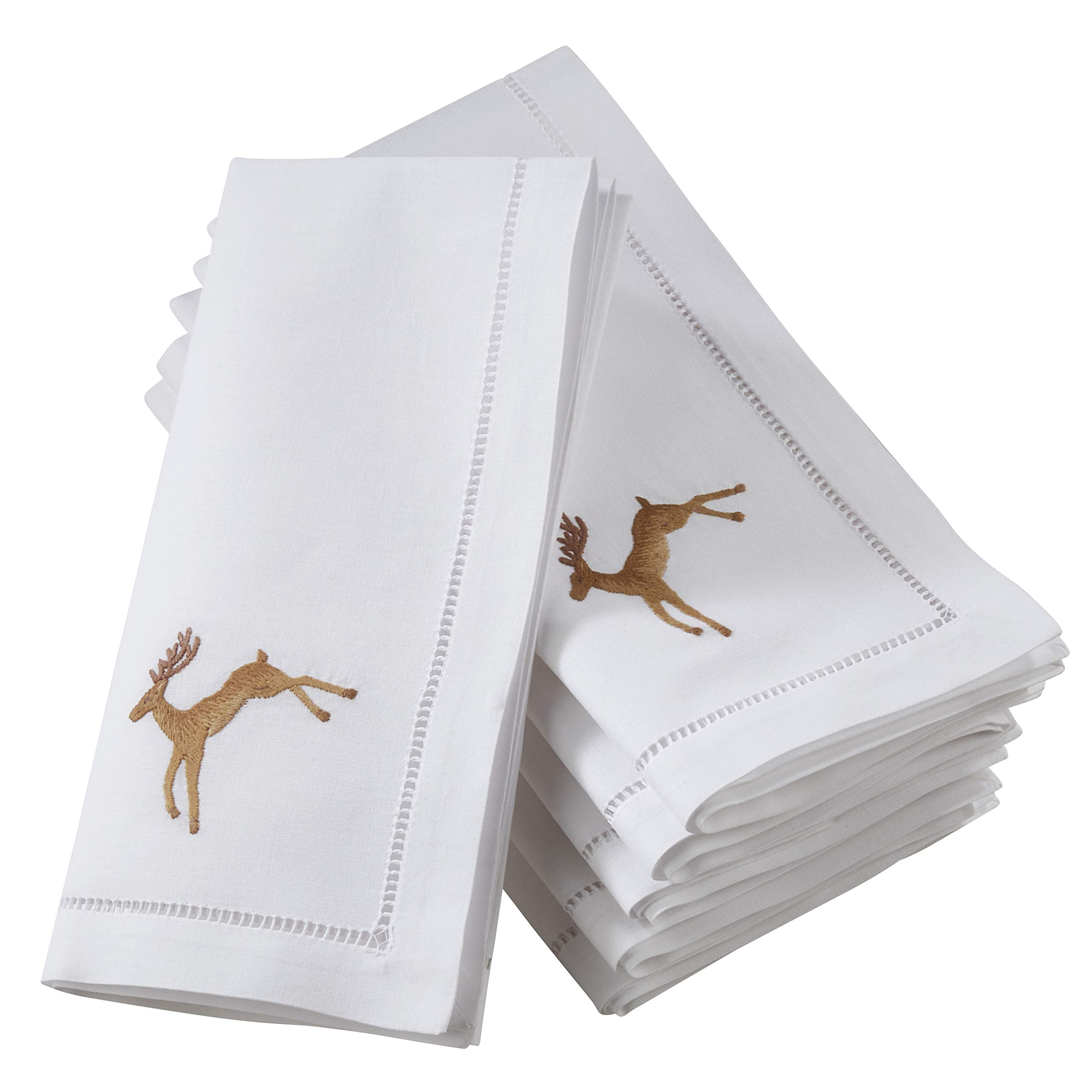 SARO LIFESTYLE NM132.W20S The Broderie Collection Embroidered Brown Reindeer Hemstitch Napkins (Set of 6) 20'',
