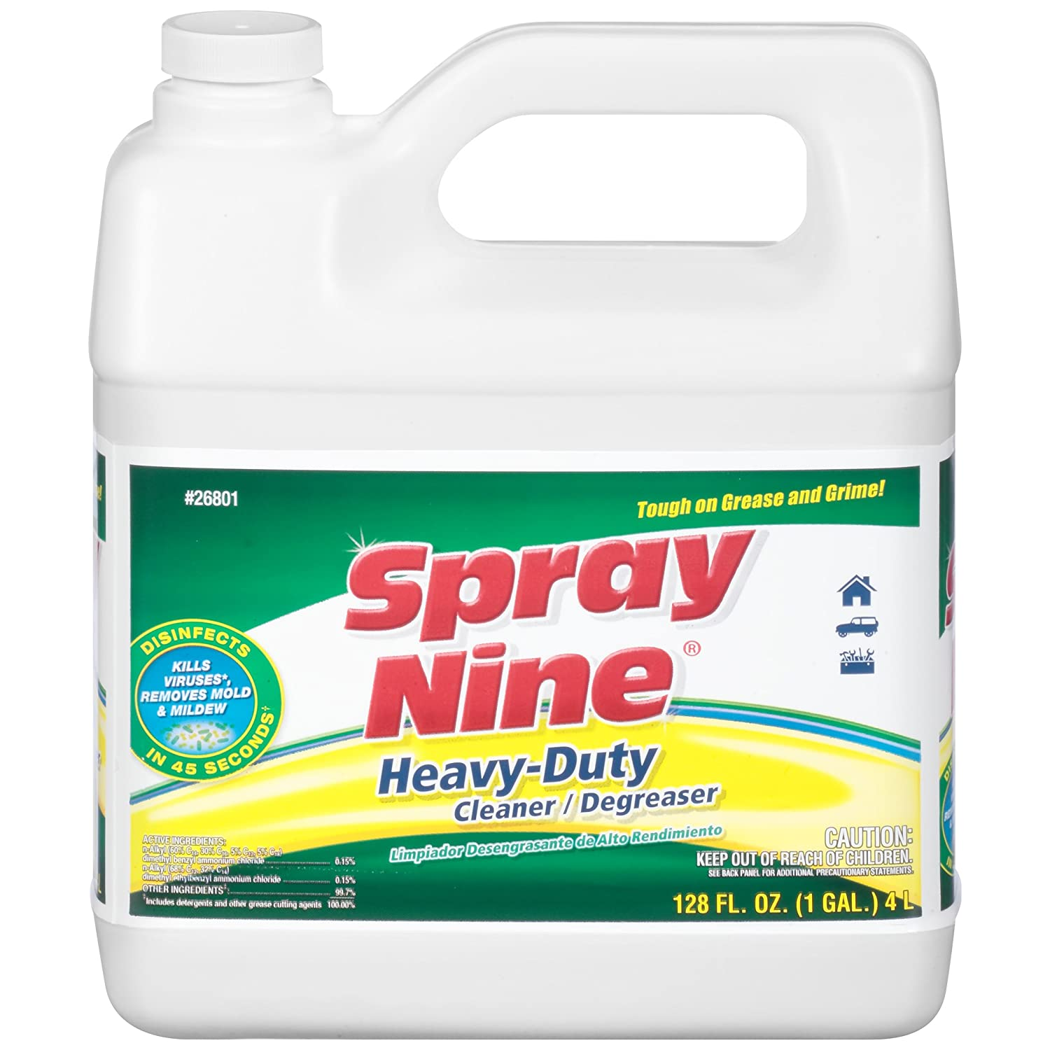 Spray Nine 26801 Heavy Duty Cleaner/Degreaser and Disinfectant - 1 Gallon, (Pack of 1)
