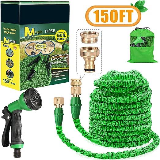 Aibiduo - Manguera extensible para jardín de 30 m, manguera de agua mágica de doble núcleo de látex con accesorios de latón macizo y boquilla de pulverización de 8 patrones (verde): Amazon.es: Jardín