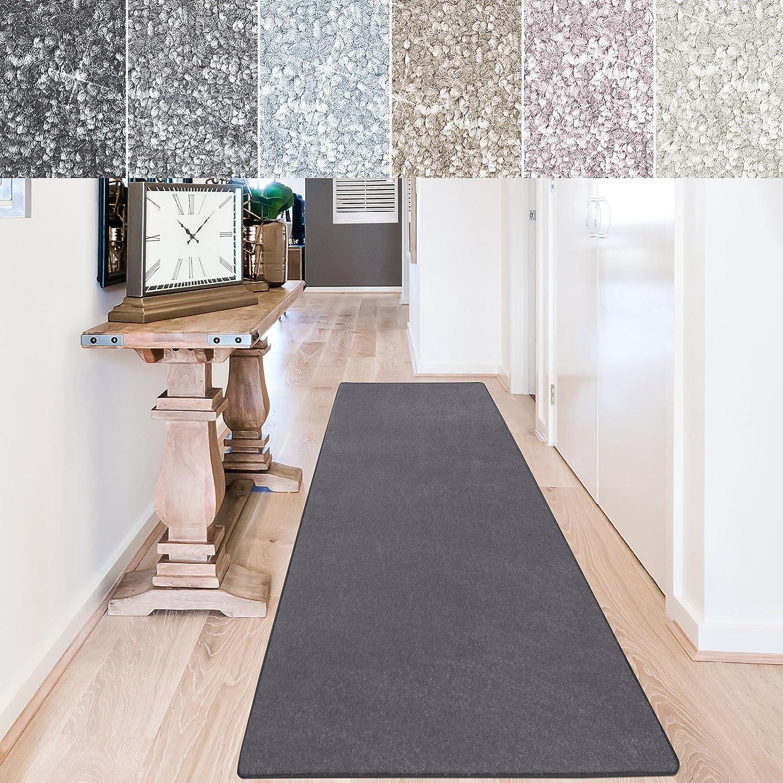 Casa pura Teppich Läufer Sundae   Meterware   Teppichläufer für Wohnzimmer, Flur, Küche usw.   kuschlig weich   mit Stufenmatten kombinierbar (Anthrazit - 80x300 cm)