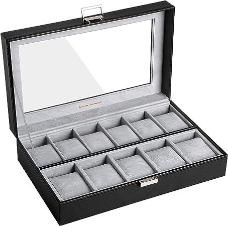 SONGMICS Caja para Relojes, Estuche para Relojes, Organizador de Relojes, Compartimentos Grandes, Forro de Terciopelo, Tapa de Vidrio, Regalo, Negro JWB14BK: Amazon.es: Hogar