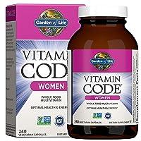 Garden of Life Multivitamin for Women, Vitamin Code Women's Multi - 240 Capsules, Whole Food Womens Multi, Vitamins, Iron, Folate not Folic Acid, Probiotics, Vegetarian Supplements for Womens Energy