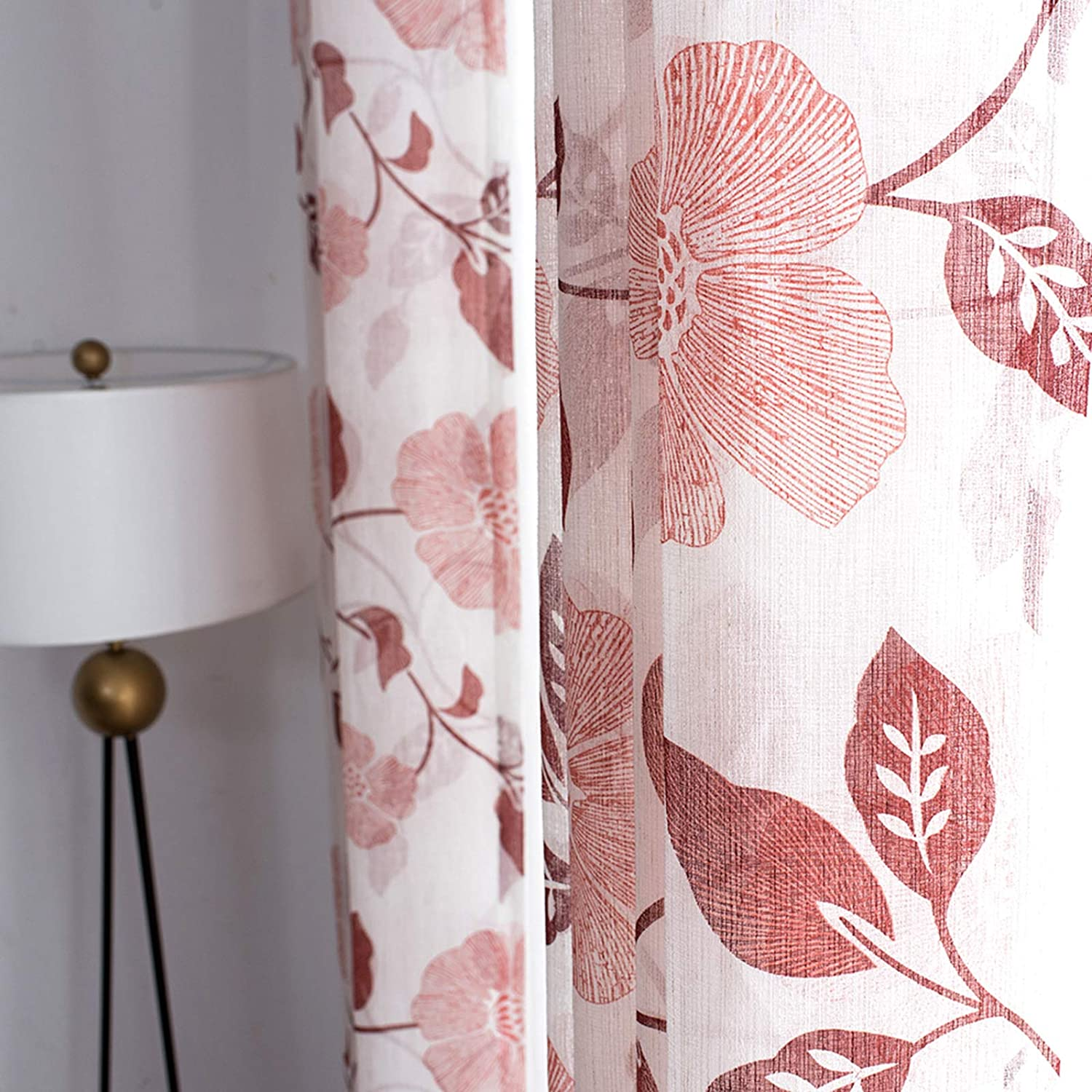 Sheer Curtains Linen Blend Textured 45 inches Long Short Sheers Floral Printed Bedroom Curtain Panels Basement Burgundy Red Flower Leaves Print Living Room Window Treatment 2 Panels Rod Pocket