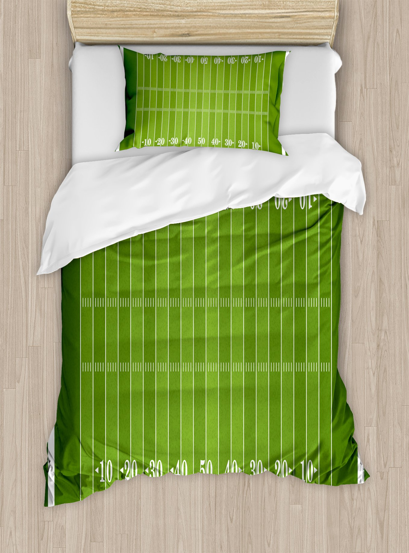 Ambesonne Football Duvet Cover Set Twin Size, Sports Field in Green Gridiron Yard Competitive Games College Teamwork Superbowl, Decorative 2 Piece Bedding Set with 1 Pillow Sham, Green White