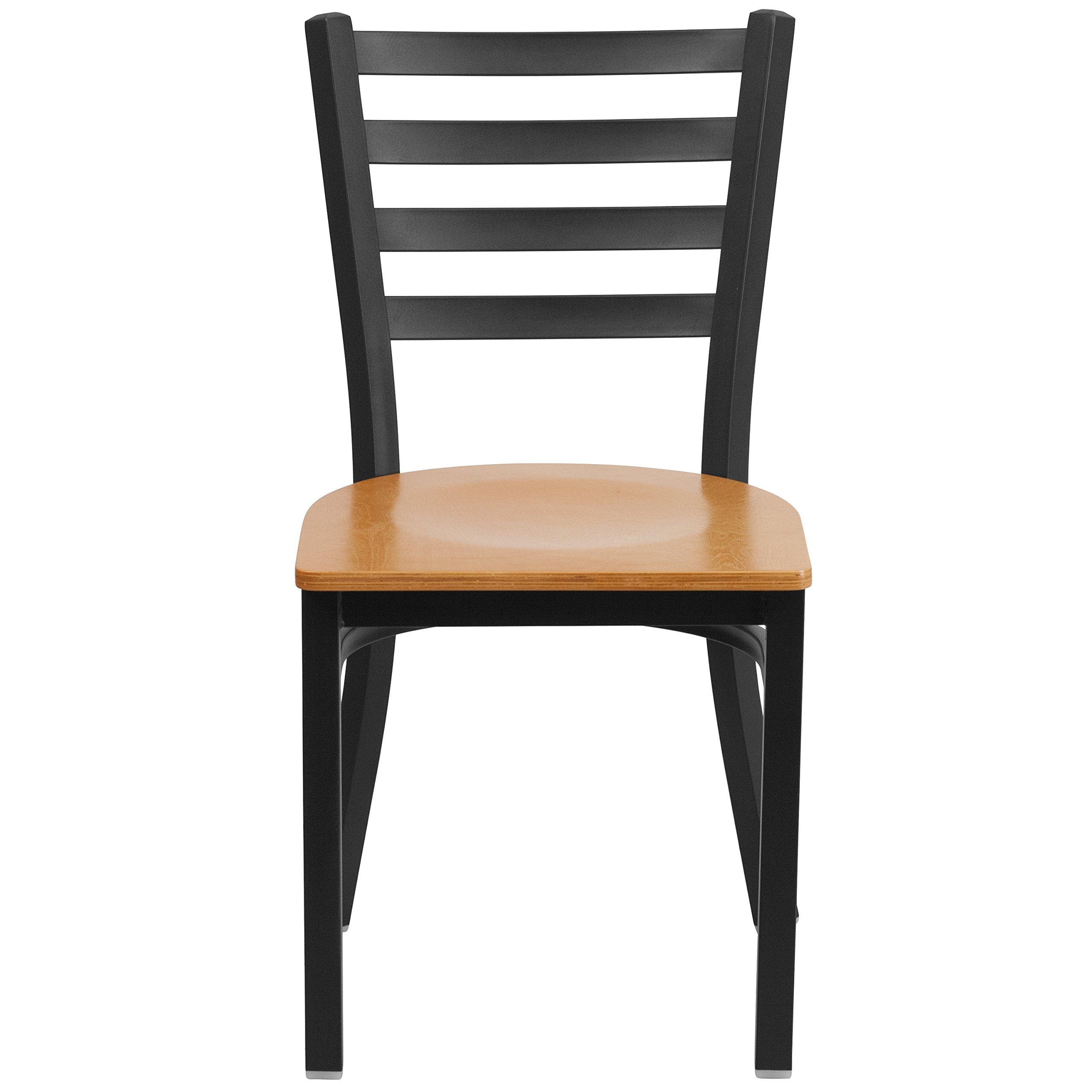 Flash Furniture HERCULES Series Black Ladder Back Metal Restaurant Chair - Natural Wood Seat by Flash Furniture (Image #4)