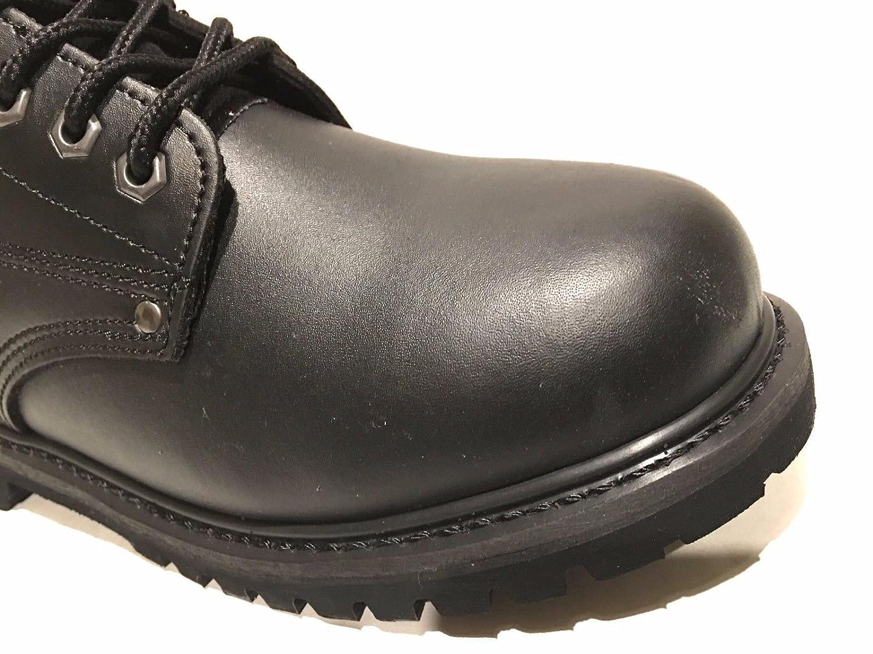 LM Mens Premium Full-Grain Leather Plain Rubber Sole Soft Toe Work Boots Snow Boots