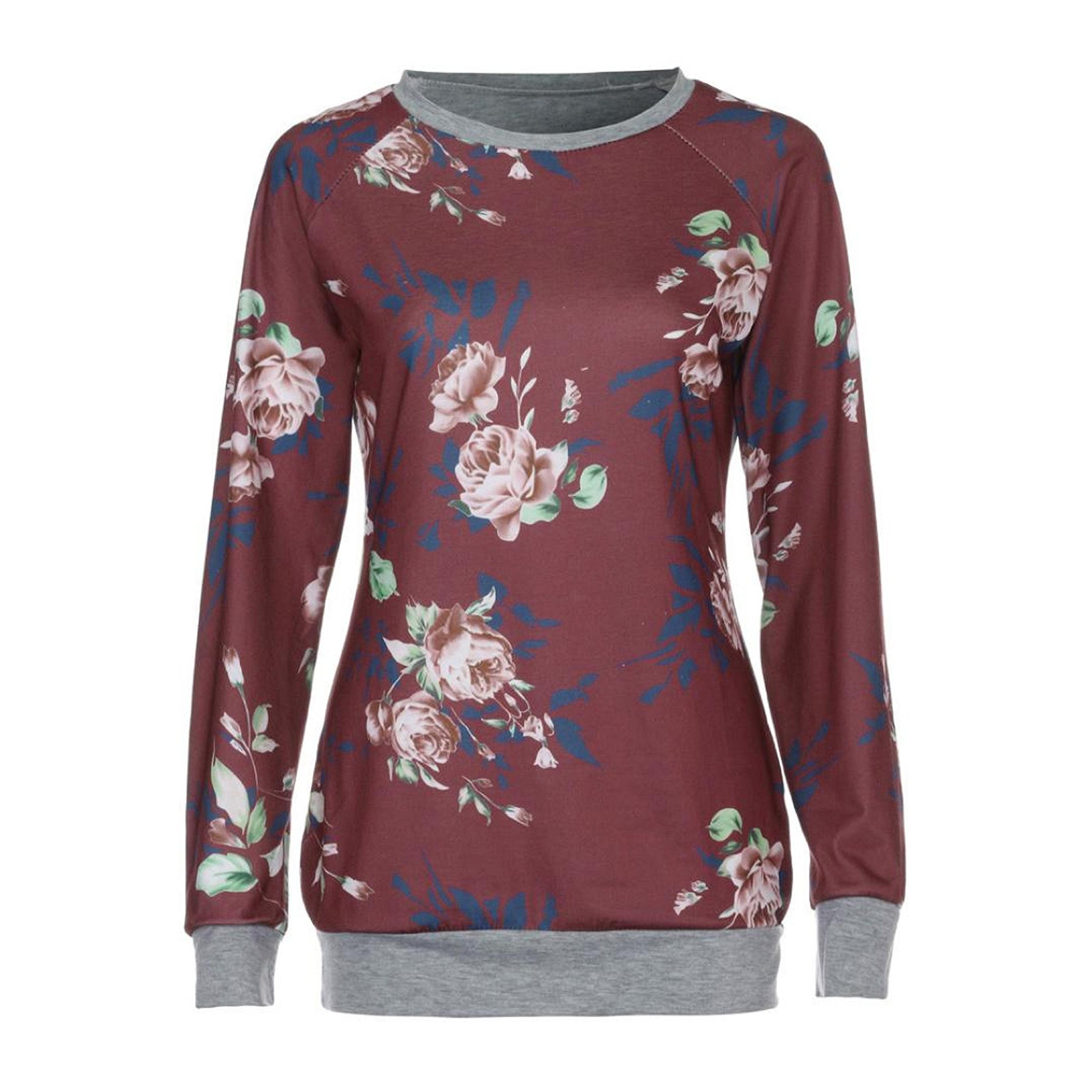 PPBUY Women Autumn Floral Printing Long Sleeve Shirt Casual Top Blouse (XL, Red) by PPBUY (Image #4)