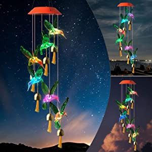 JOBOSI Hummingbird Wind Chimes, Gifts for mom, Garden Gifts, Gifts for Women, Solar Wind Chimes, Wind Chimes Outdoor, Hummingbird Gifts, Garden Decor