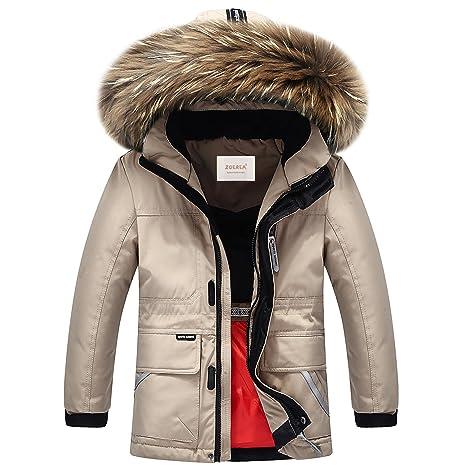 new product f6615 88fb6 ZOEREA Kinder Jungen Daunenjacke Super Warme Winterjacke Verdickte  Schneejacke Mantel Outerwear mit Fellkapuze