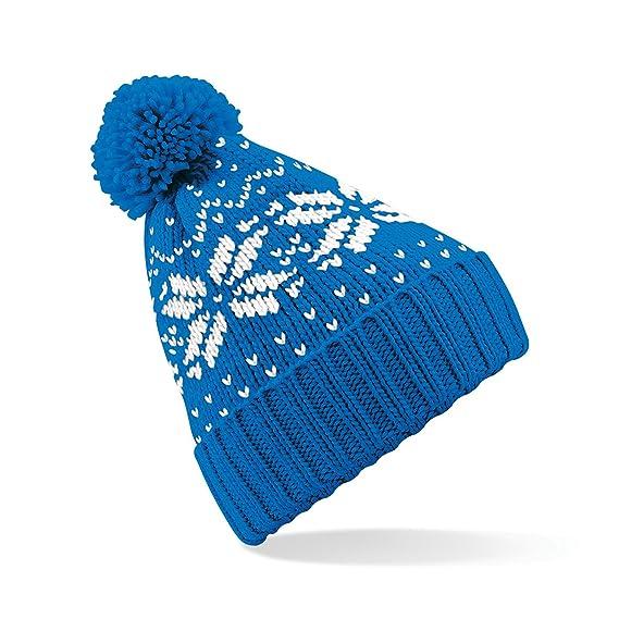 Beechfield - Gorro de punto modelo Fairisle para niños (Talla Única Azul) 1a70f7f866a