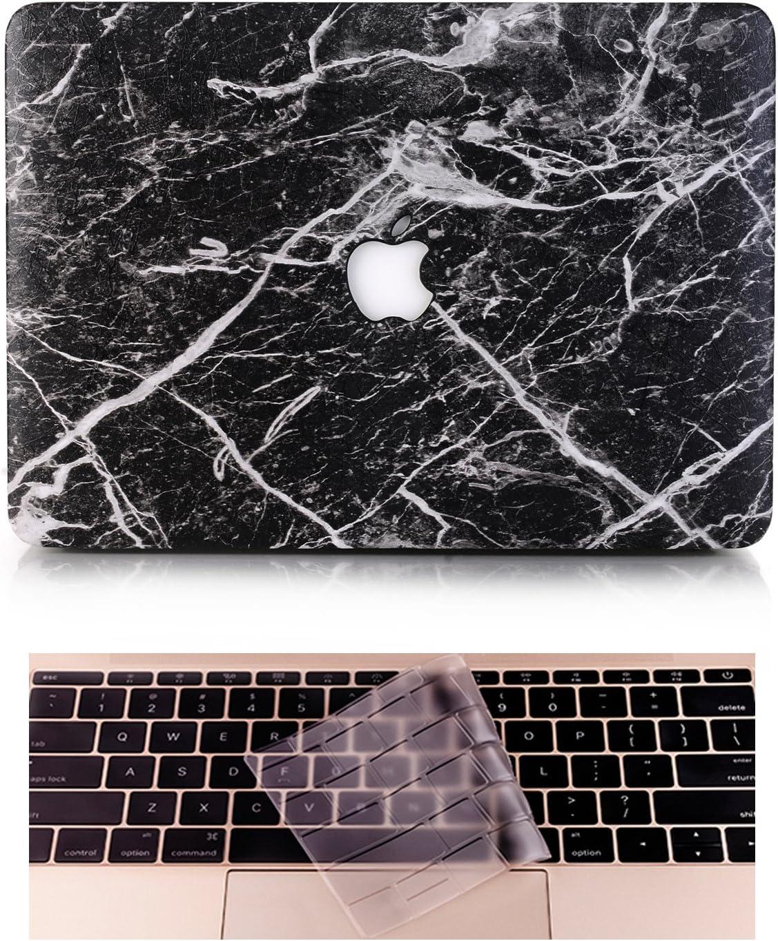 L2W Carcasa rígida, de plástico, para MacBook Air de 13 pulgadas (modelo: A1369/A1466), incluye protector transparente de teclado, de mármol negro Negro MacBook Air 13