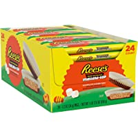 REESE'S Mallow-Top Milk Chocolate and Marshmallow flavored white crème Peanut Butter Cups Candy, Easter, 1.2 oz Pack (24…
