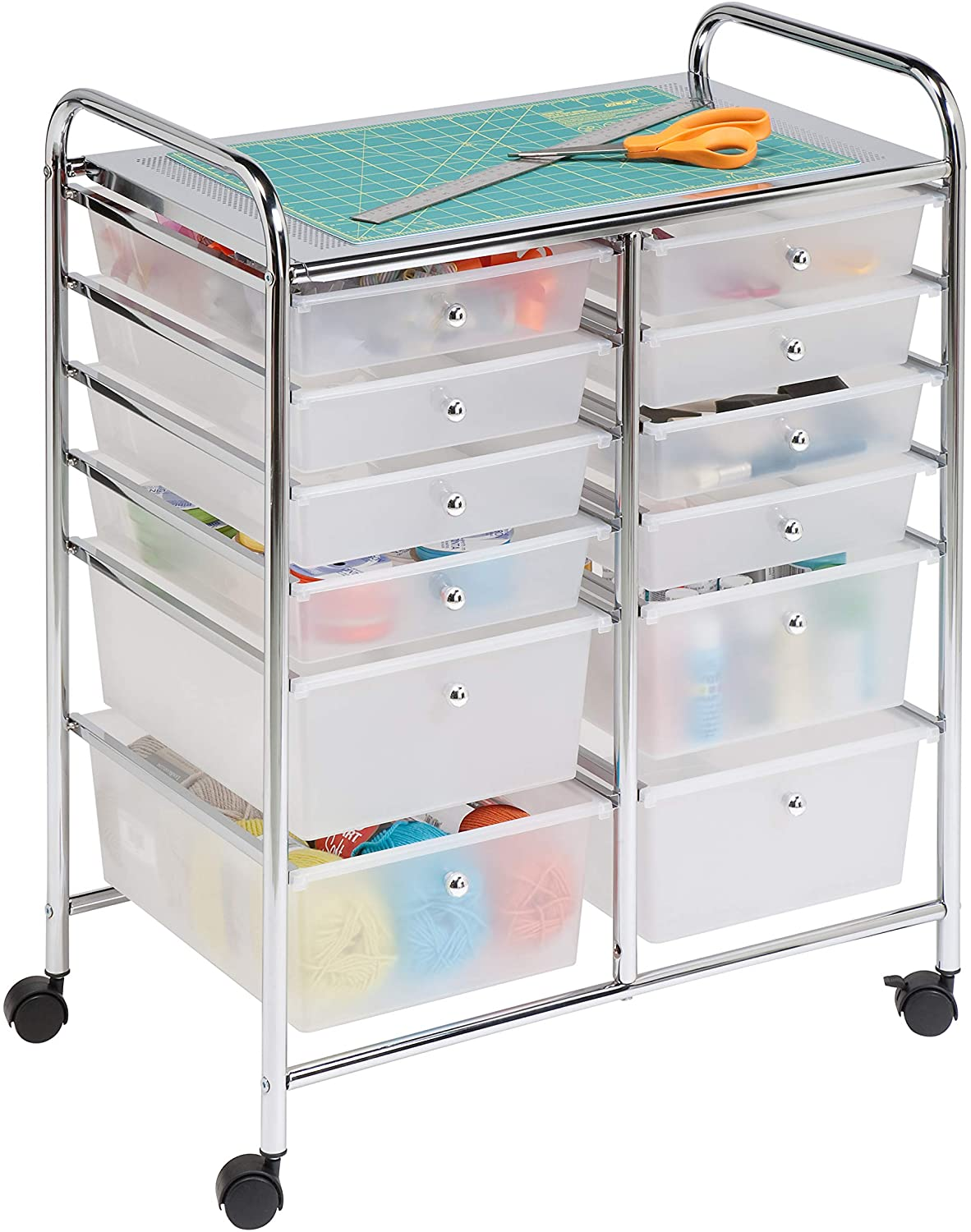 Honey-Can-Do Rolling Storage Cart and Organizer with 12 Plastic Drawers: Arts, Crafts & Sewing