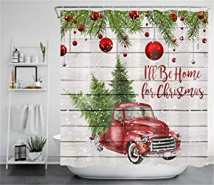 ECOTOB Christmas Truck Shower Curtain Decor, Snowflake Xmas Tree Ball Farmhouse Red Truck on Rustic Wood Boards Shower Curtains 72X72 inch Polyester Fabric Bathroom Decor Bath Curtains Hooks Included