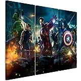 Toile 3 pièces all_avengers_3 x 90 x 40 cm-hauteur totale: 120 x 90 cm) _ausführung art wandbilder tableau sur toile sur châssis