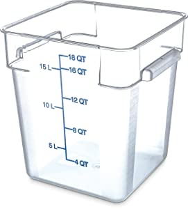 Carlisle 1072507 StorPlus Stackable Square Food Storage Container, 18 Quart Capacity, Clear (Pack of 6)