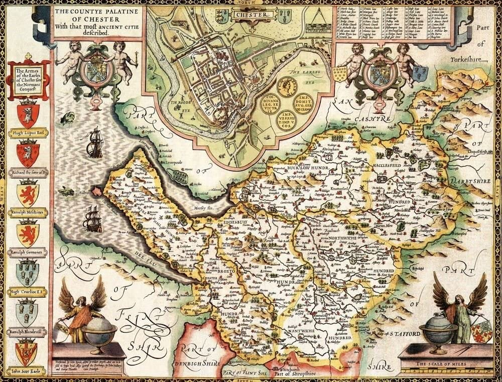 "Johan Blaeu Map of Lancashire 1648-24/"" x 16/"" Photographic Print"