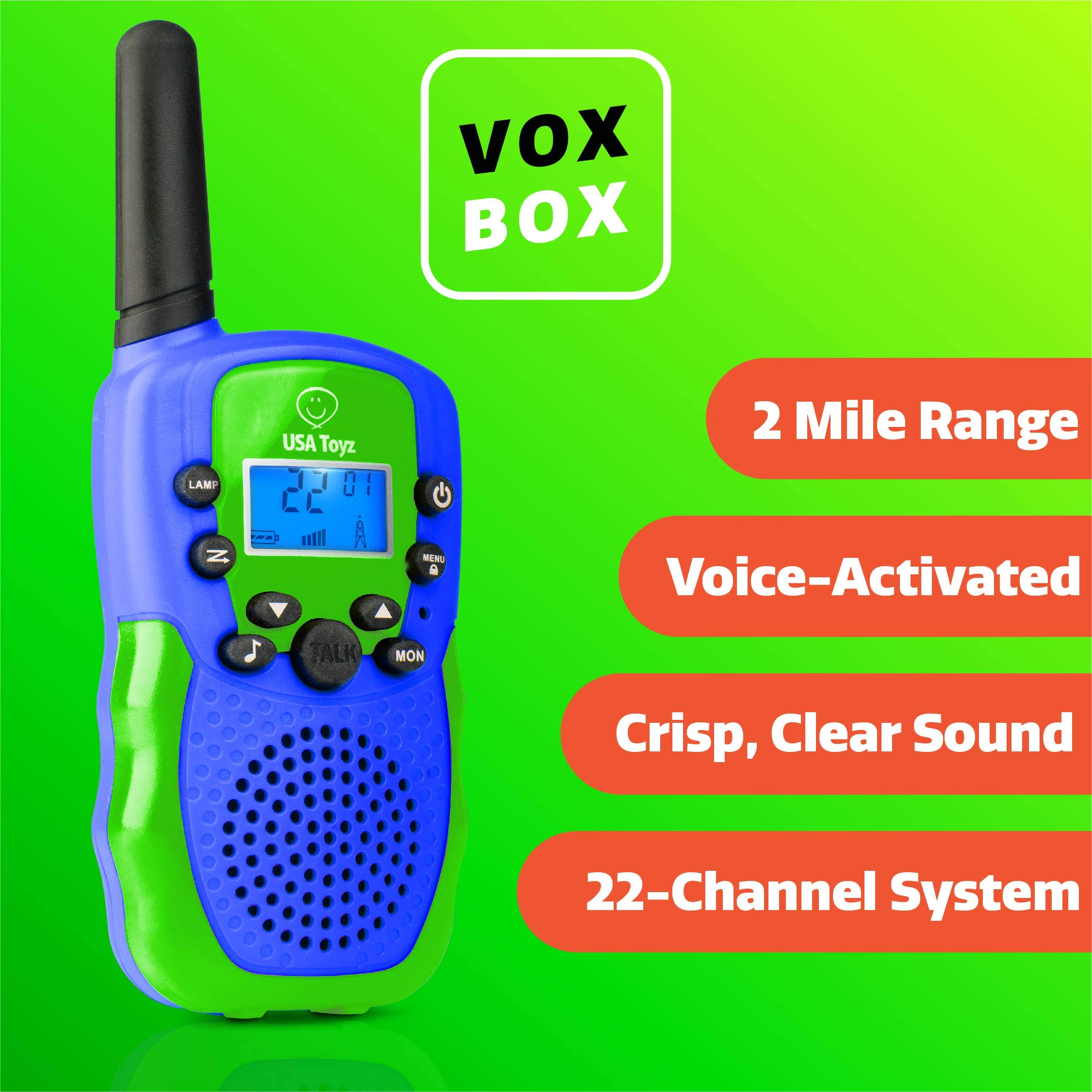USA Toyz Walkie Talkies for Kids Vox Box Kids Walkie Talkies for Boys Or Girls, Voice Activated Long Range Outdoor Toys Walkie Talkie Set (Blue/Green) by USA Toyz (Image #2)