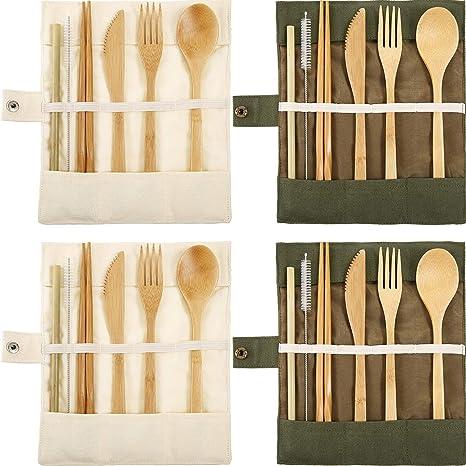 4 Juegos de Utensilios de Bambú Cubertería Juego de Cubiertos de Viaje de Bambú Tenedor Cuchara