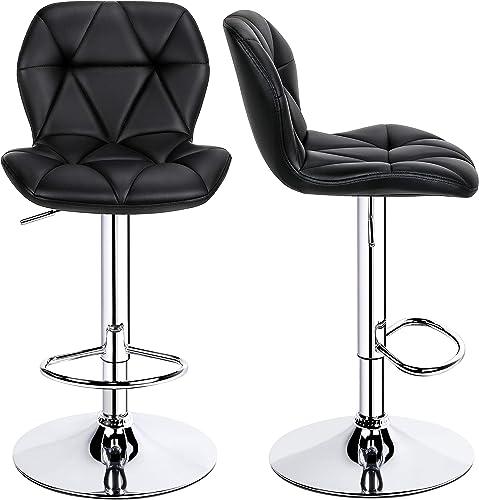 YAHEETECH 2pcs Bar Stools Adjustable PU Leather 360 Swivel Bar Chair