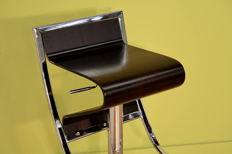 Baxton Studio Lynette Brown Curved Wood Adjustable Swivel Bar Stool Wholesale Interiors BS-322 IEBS-322