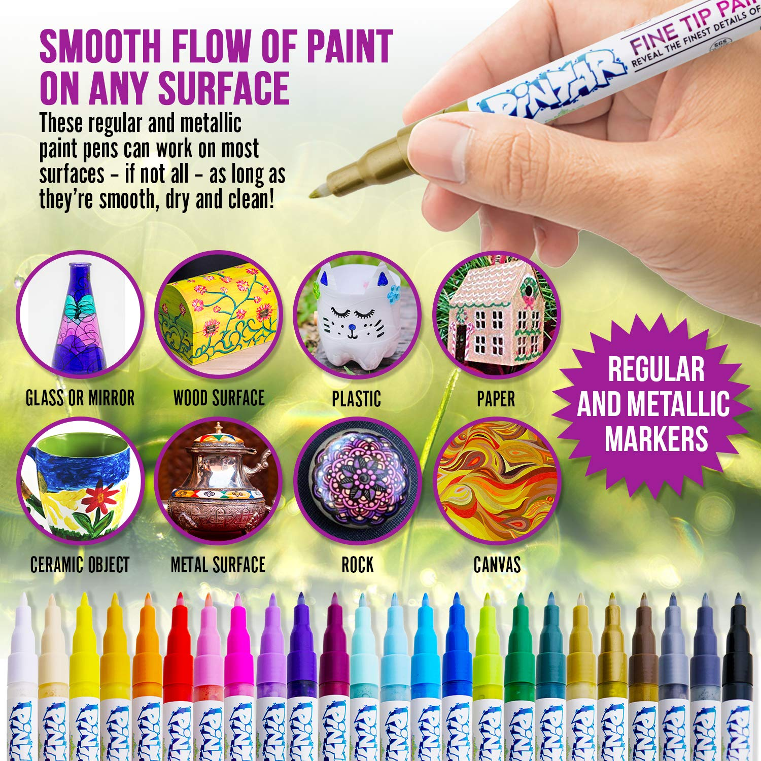 PINTAR - Acrylic Fine Tip Paint Pens For Rock Painting Art - 24 Pack Vibrant Colors for Wood, Glass, Metal and Ceramic - Water Resistant and Quick Drying Ink For Arts & Crafts by PINTAR (Image #2)