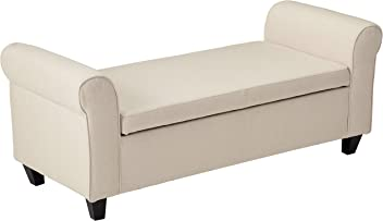 Great Deal Furniture 296872 Danbury Beige Fabric Armed Storage Ottoman Bench
