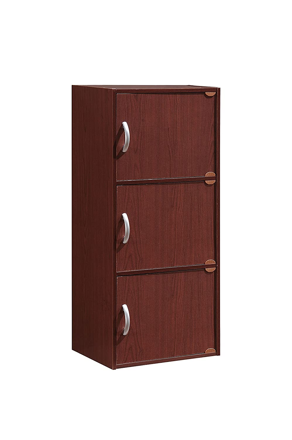 Hodedah 3 Door, Three Shleves, Enclosed Storage Cabinet, Mahogany