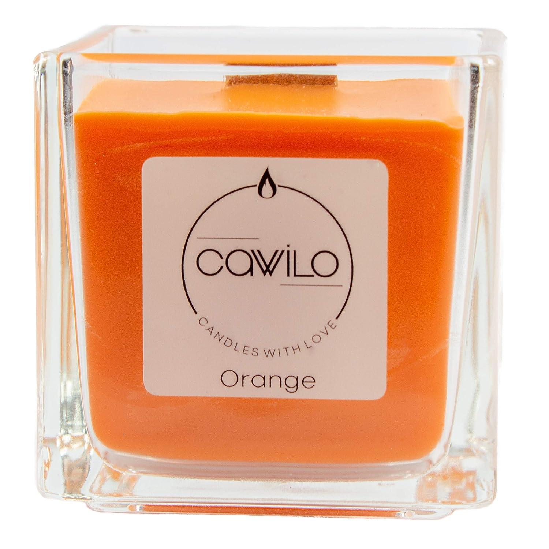 Sojawachskerze mit Holzdocht Cawilo Orange