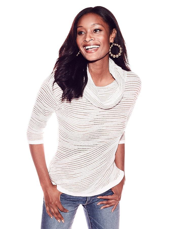 79b9f639e97 New York & Co. Women's Metallic Stripe Cowl-Neck Sweater ...