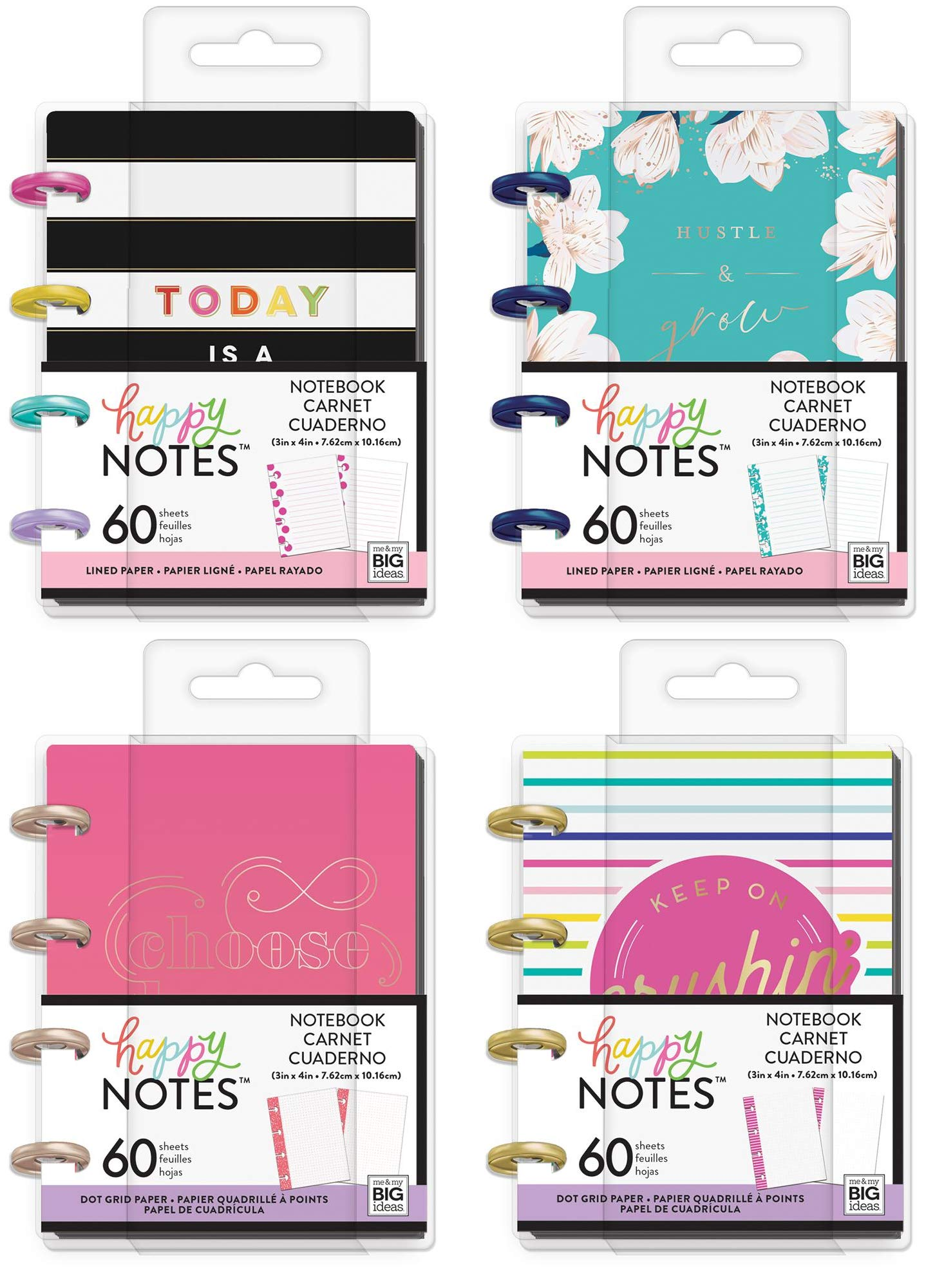 Micro Happy Notes 3 x 4 Inch Memo Books - Southern Preppy, Today is A Gift, Bright Crushin' and Choose Happy - 4 MAMBI Keepsake Items