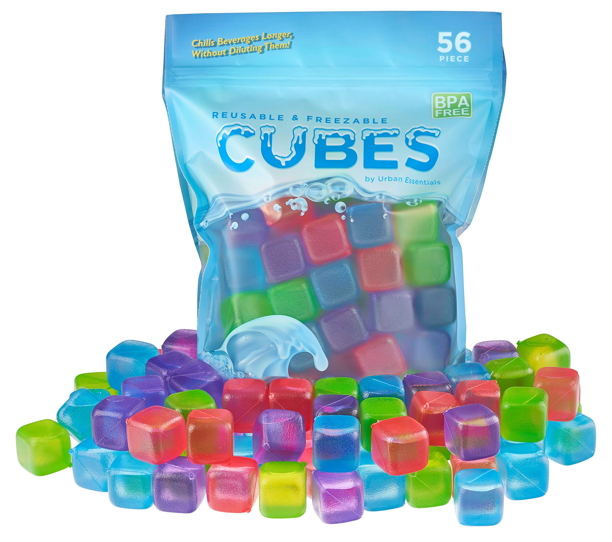 Urban Essentials Reusable Ice Cubes - Quick Freeze Colorful Plastic Square Icecubes With Resealable Bag Assorted Colors Pack Of 56 by Urban Essentials