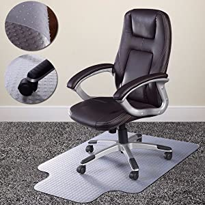 """unbrand 36"""" x 48"""" Home Office Chair PVC Floor Mat Studded Back with Lip for Pile Carpet"""