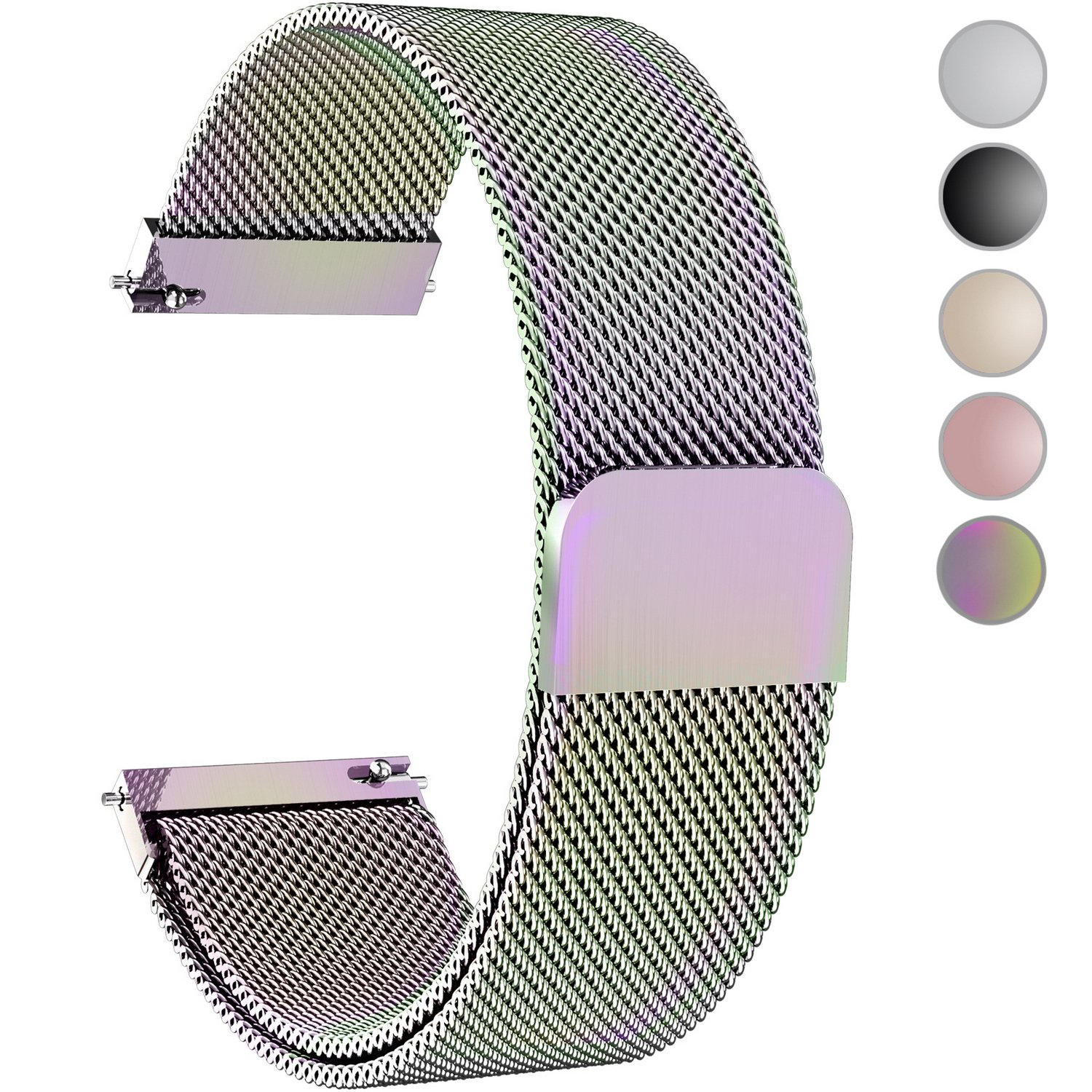 Fullmosa Compatible Gear S3 Bands, Milanese Loop 22mm Watch Band Quick Release Compatible Samsung Gear S3 Frontier/Classic Compatible Moto 360 2nd Gen 46mm Watch Strap, Colorful