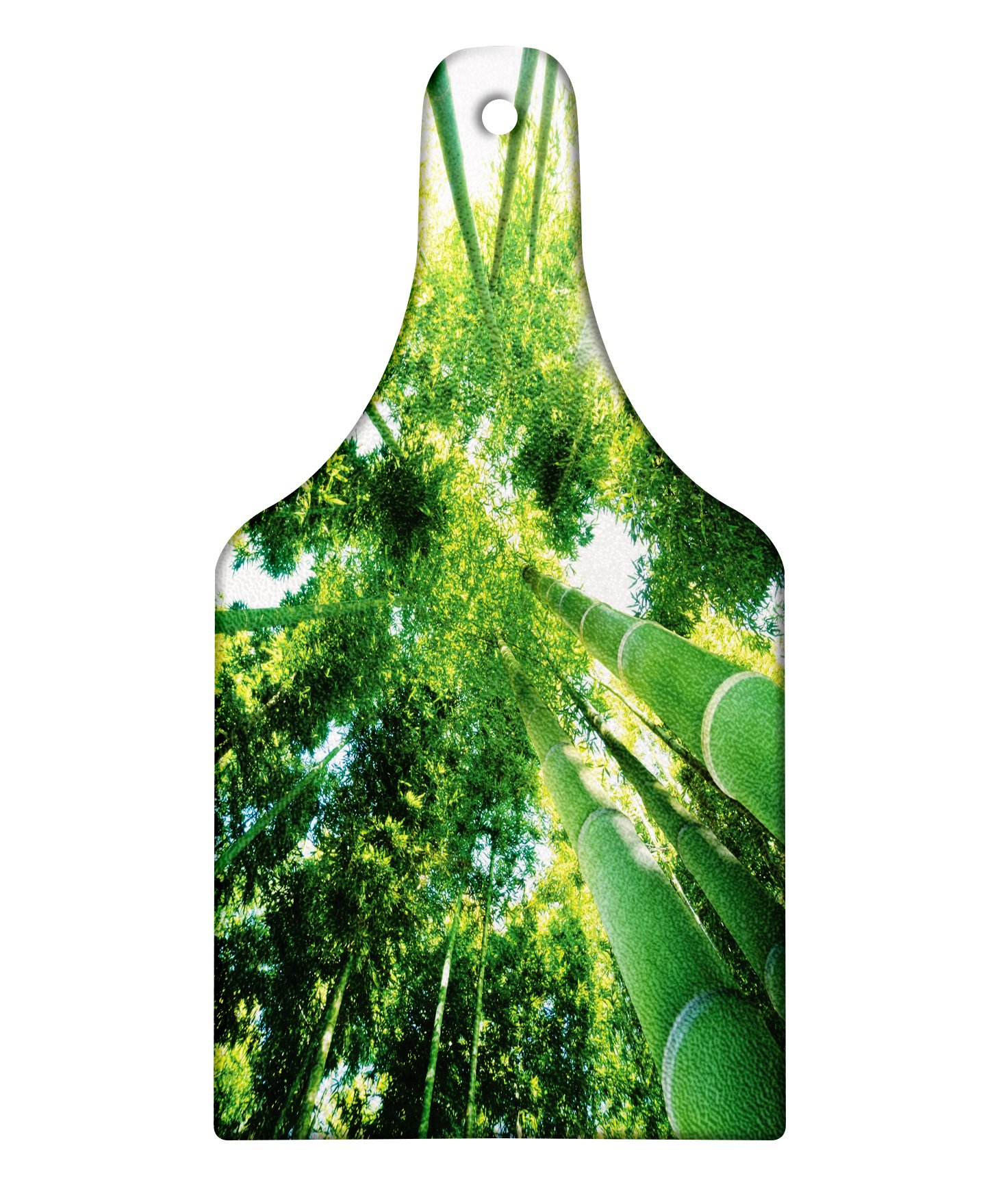 Lunarable Bamboo Cutting Board, Low Angle View of Bamboo Tree Tops Asian Zen Tranquil Lands Jungle Meditation Spa Theme, Decorative Tempered Glass Cutting and Serving Board, Wine Bottle Shape, Green