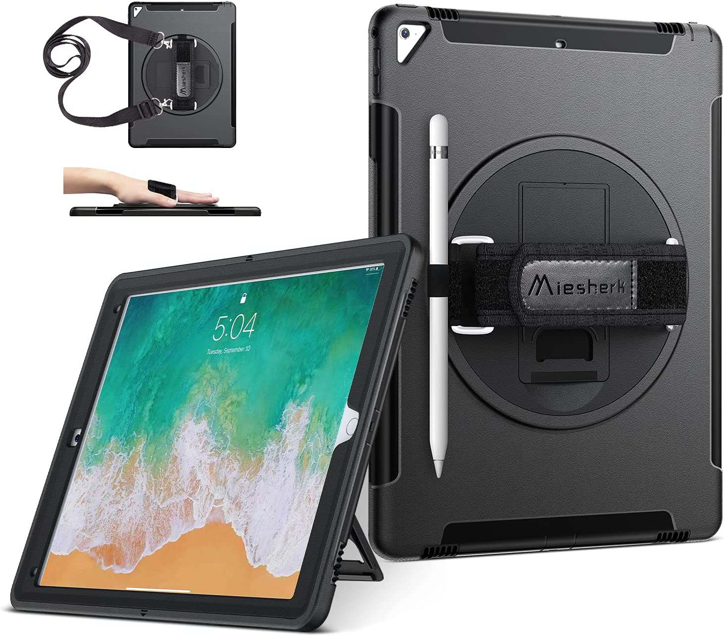 iPad Pro 12.9 Case 2nd Generation 2017 & 2015 1st Generation, Military Grade Heavy Duty Rugged Shockproof Protective Cover w/ 360° Rotatable Stand + Handle Hand & Shoulder Strap + Pencil Holder Black